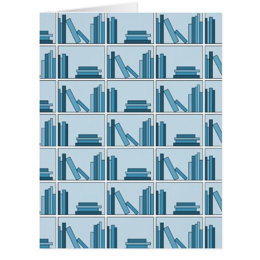 Blue Books on Shelf. Greeting Card