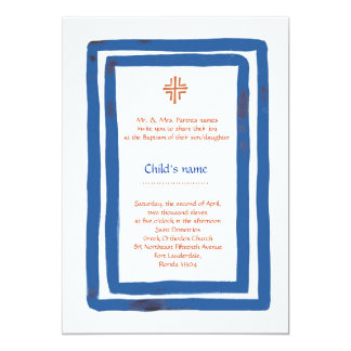 Blue Border Baptism 13 Cm X 18 Cm Invitation Card