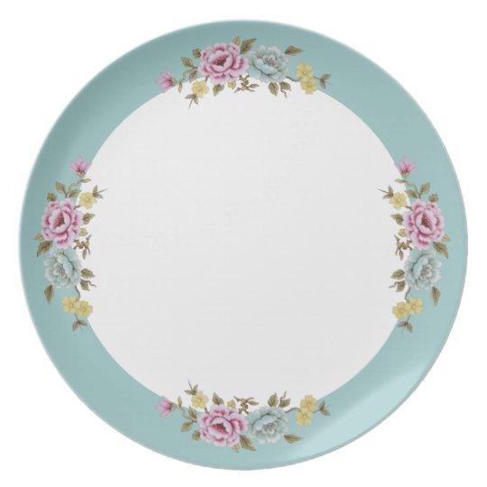 Blue Border Floral Plate