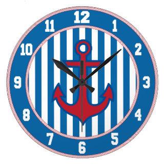 Blue Border Nautical Anchor Clock