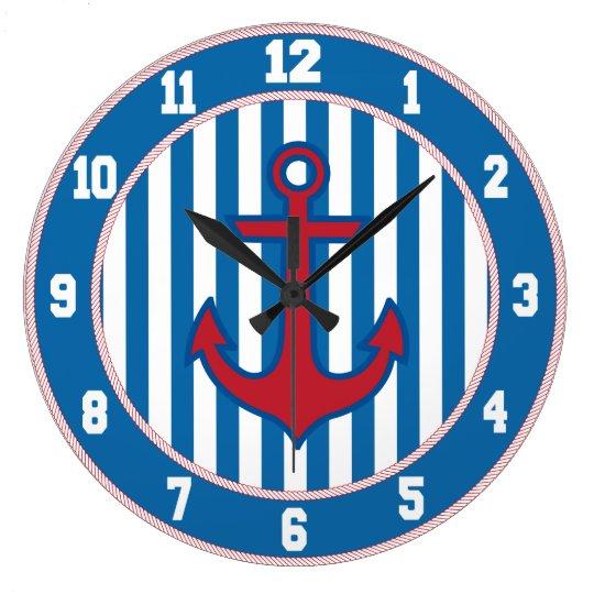 Art Décor: Blue Border Nautical Anchor Clock