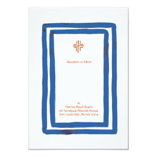 Blue Border Reception Invitation