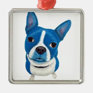Blue Boston Terrier Christmas Ornament