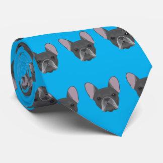 Blue Boston Terrier Tie