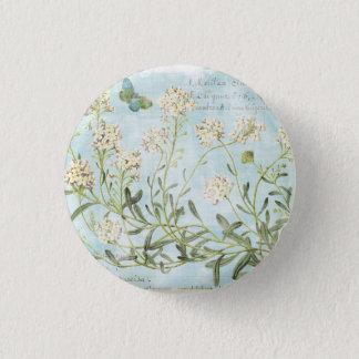 Blue Botanical 3 Cm Round Badge