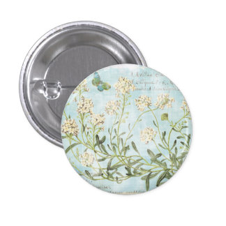 Blue Botanical 3 Cm Round Badge