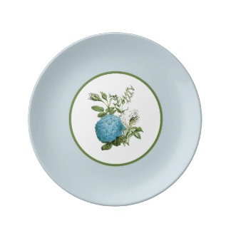 Blue Botanical Floral Decorative Porcelain Plate
