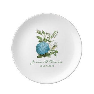 Blue Botanical Floral Personalised Porcelain Plate