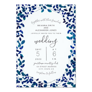 Blue Botanical Wedding Card