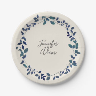 Blue Botanical Wedding Paper Plate