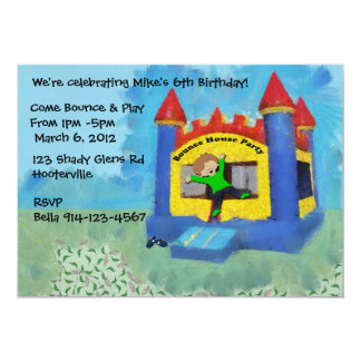 "Blue Bounce House Party Invite 5"" X 7"" Invitation Card"