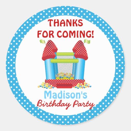 Blue Bouncy Bounce House Birthday Favor Sticker