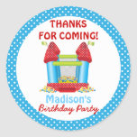 Blue Bouncy Bounce House Birthday Favour Sticker