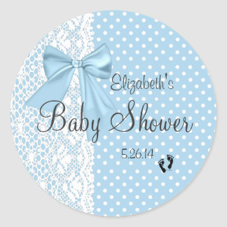 Blue Bow and Lace Baby Shower Guest Favor Round Sticker