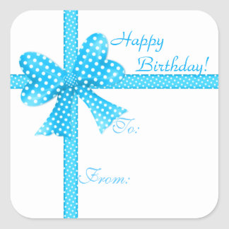 Blue Bow and Ribbon Gift Tag Sticker