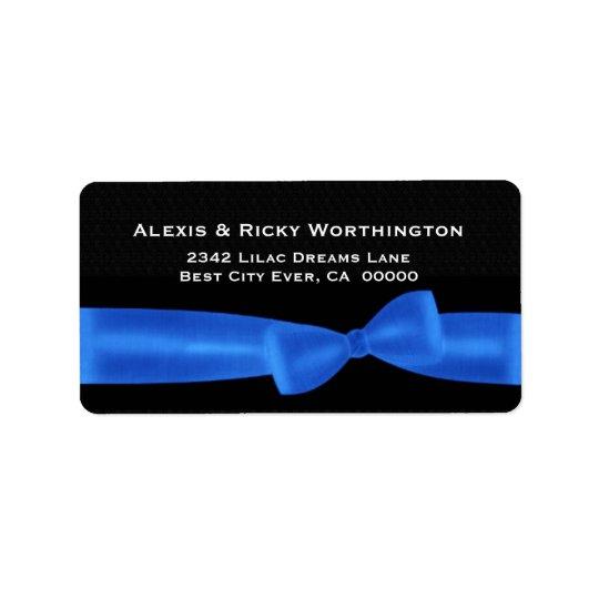 Blue Bow Black Background Wedding Ver S312 Label