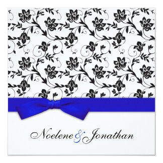 Blue Bow Flower Wedding Invitation