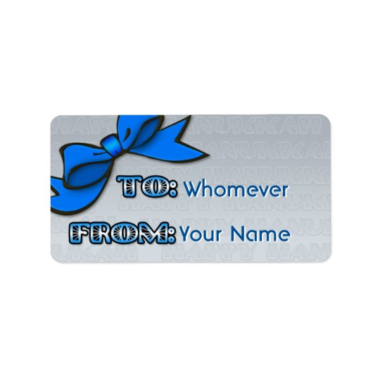 Blue Bow on Silver Hanukkah (To-From) Address Label