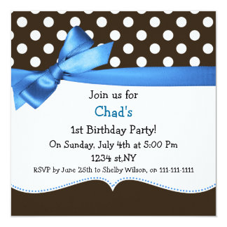 blue bow polka dots first birthday party 5.25x5.25 square paper invitation card