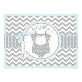Blue Bow Tie & Chevron Print Baby Shower Invites