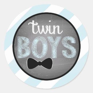 Blue Bow-tie Diagonal Stripe Baby Shower Round Sticker