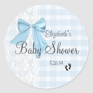 Blue Bow, White Lace and Blue Gingham Baby Shower- Round Sticker