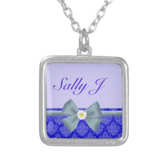 Blue Bow with Daisy with Lace Accent Silver Plated Necklace