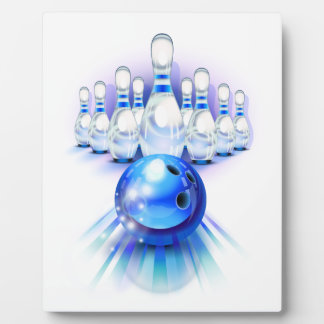 Blue bowling plaque