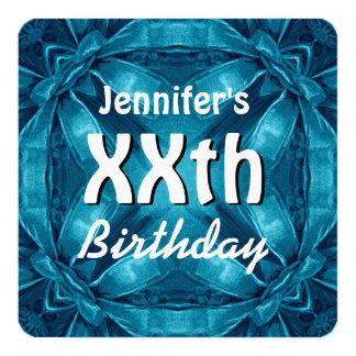 BLUE Bows Any Year Birthday Custom Name W30Z 13 Cm X 13 Cm Square Invitation Card