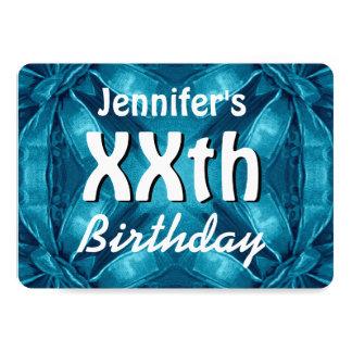 BLUE Bows Any Year Birthday Custom Name W30Z 13 Cm X 18 Cm Invitation Card
