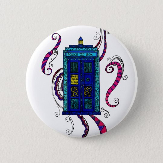Blue Box - button badge with Police Box design