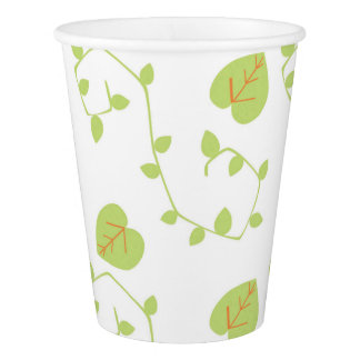 Blue Boy Baby Shower Modern Nature Vine Paper Cups