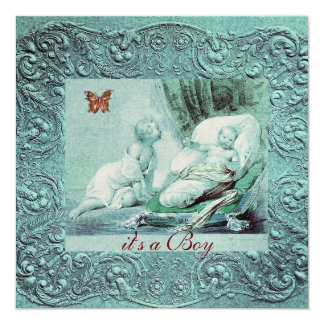 BLUE BOY BABY SHOWER WITH BUTTERFLY  Champagne 13 Cm X 13 Cm Square Invitation Card