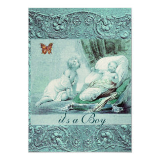 "BLUE BOY BABY SHOWER WITH BUTTERFLY Champagne 5"" X 7"" Invitation Card"