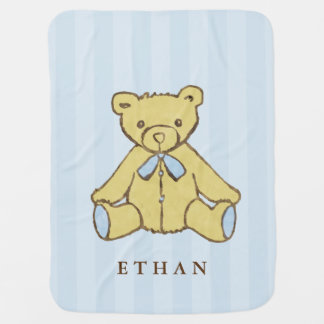 Blue Boy Bear Personalized Baby Blanket