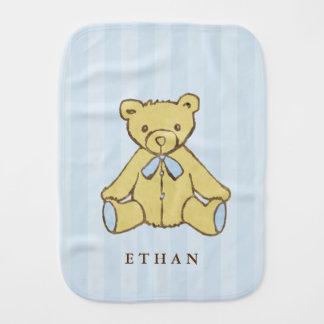 Blue Boy Bear Personalized Burp Cloth