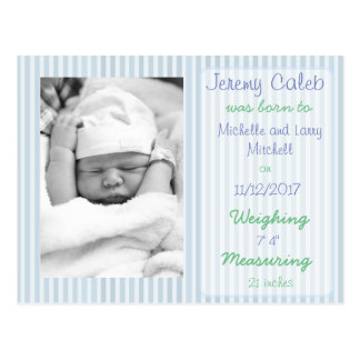 Blue Boy Birth Announcement Postcard