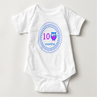 Blue Boy Custom Age Baby Owl Logo For Pictures - Baby Bodysuit