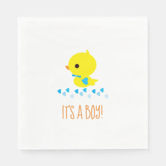 Blue Boy Yellow Duck Baby Shower Kawaii Cartoon Paper Serviettes