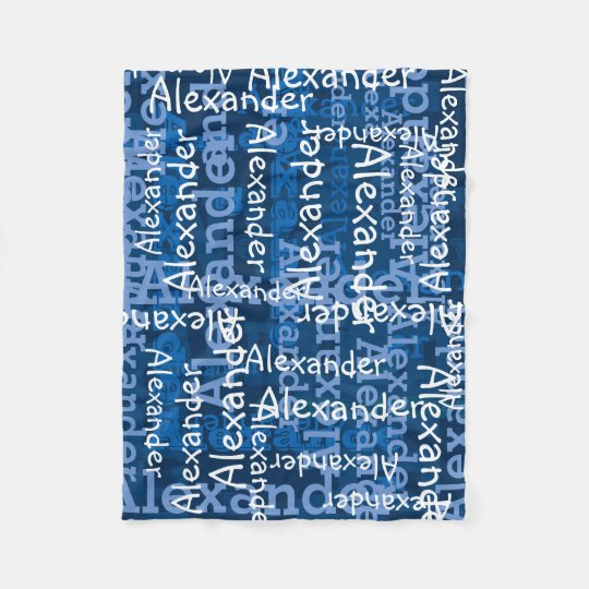 Blue Boy's All-over Name Collage Personalised Fleece Blanket