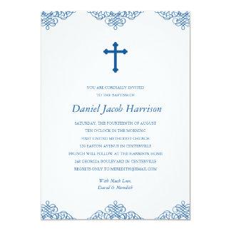 Blue Boys Baptism/Christening 13 Cm X 18 Cm Invitation Card