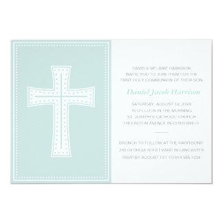Blue Boys First Communion 13 Cm X 18 Cm Invitation Card