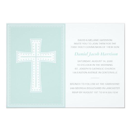 Blue Boys First Communion Card