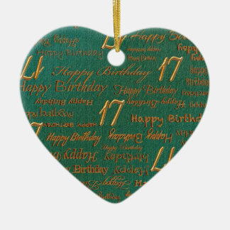Blue Brass Happy 17th Birthday Print Ornaments