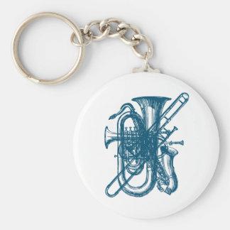 Blue Brass & Sax Key Ring