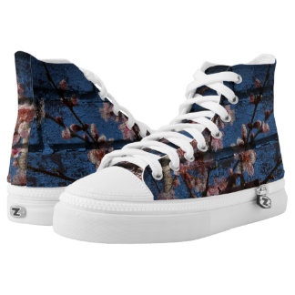 Blue Brick and Blossoms High Tops Printed Shoes