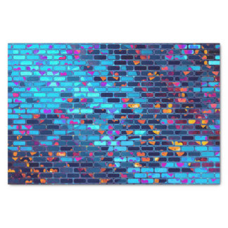 Blue Brick and Heart Shimmer Pattern Tissue Paper