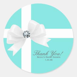 Blue Bridal Shower White Bow Diamond Favor Classic Round Sticker