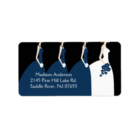 Blue Bride & Bridesmaids Return Address Label