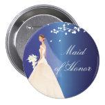 Blue Bride Maid of Honour Bridal Party  Button